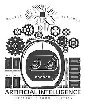 Vintage künstliche intelligenz etikettenvorlage