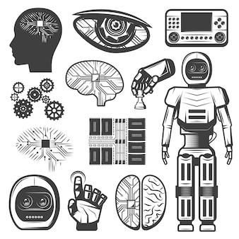 Vintage künstliche intelligenz set
