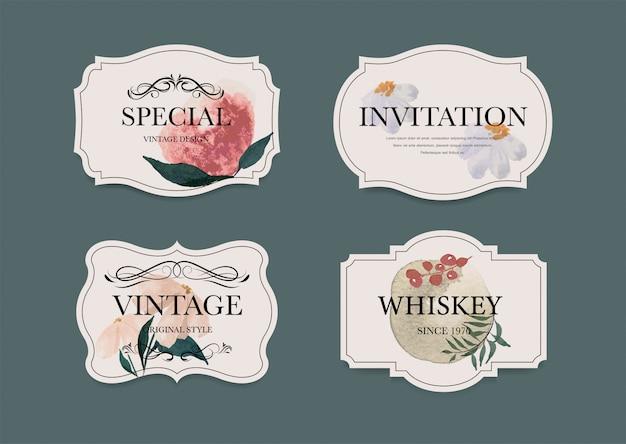 Vintage label abzeichen festgelegt. luxus dekoration aquarellfarbe design. floral pinsel hand gezeichnete stil.