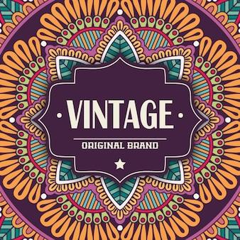 Vintage-label auf einem fantastischen mandala