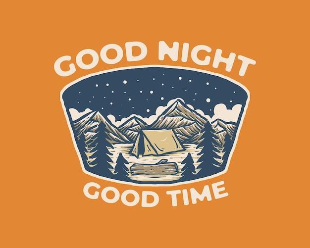 Vintage label badge illustration der campingnacht auf dem berg