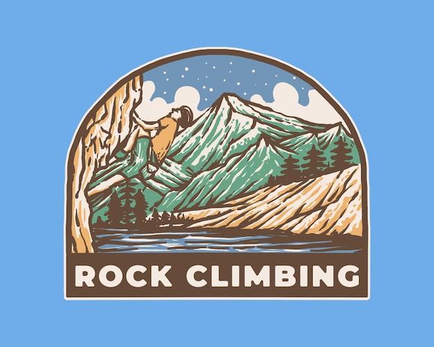 Vintage label badge illustration des extremsport-kletterns auf dem berg