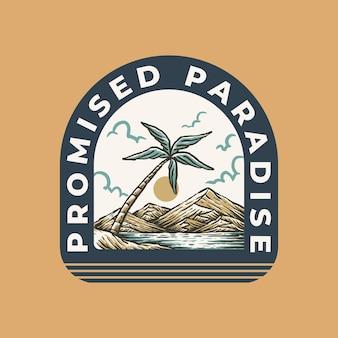 Vintage label badge illustration des paradiesstrandes im sommer