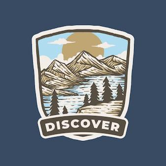 Vintage label badge illustration von bergen land und see