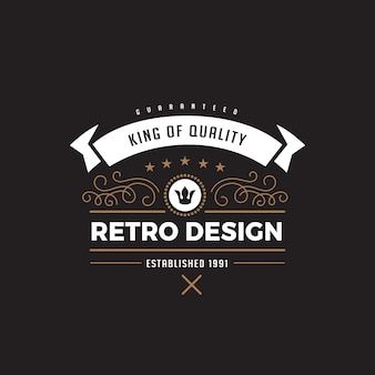 Vintage label badge logo design-ikone.
