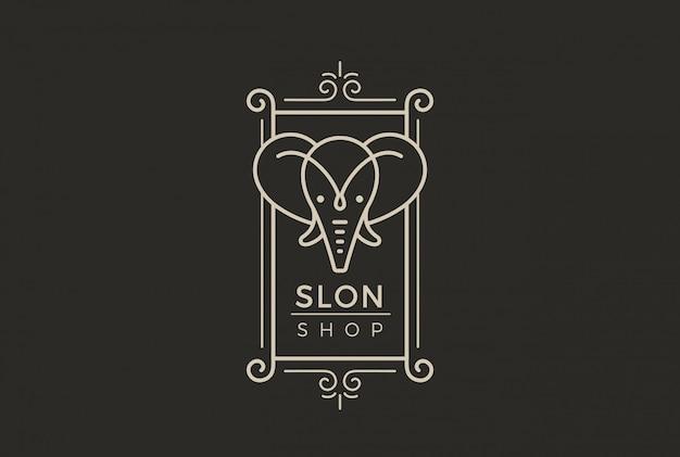 Vintage label elephant logo linearer stil