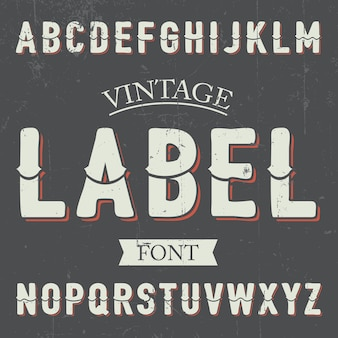 Vintage label font poster mit alphabet auf der grauen illustration