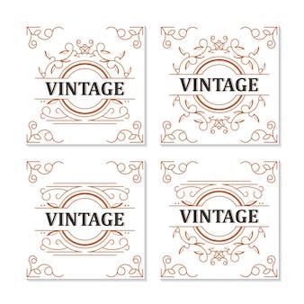 Vintage label frame ornamental design