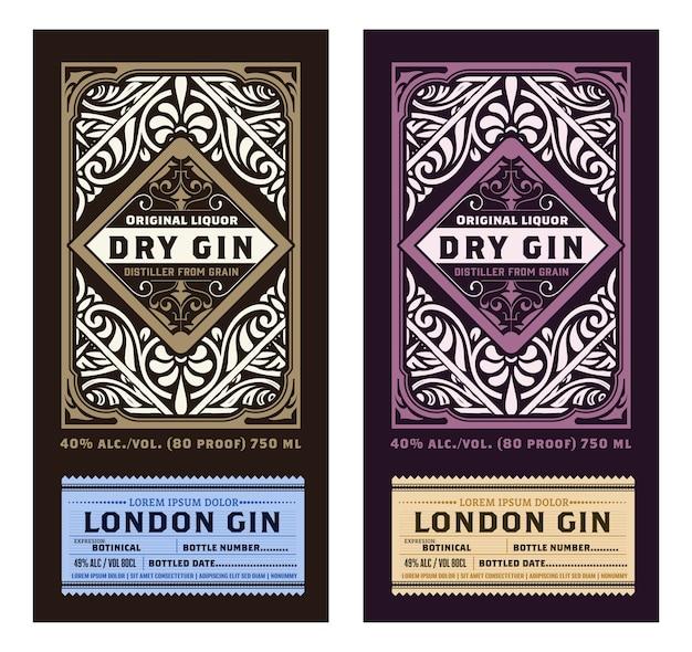 Vintage label mit gin liquor design