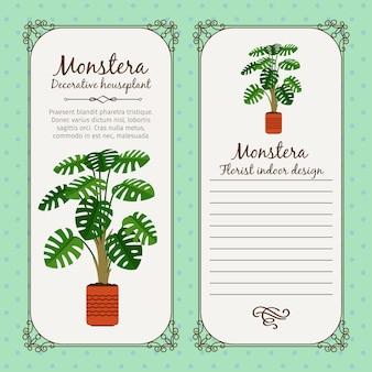 Vintage label mit monstera pflanze