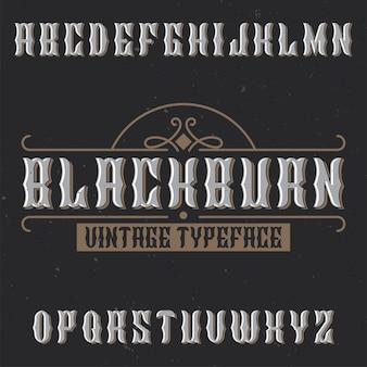 Vintage label schrift namens blackburn