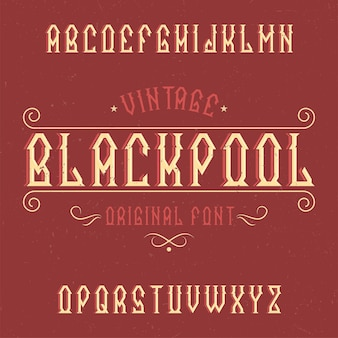 Vintage label schrift namens blackpool.