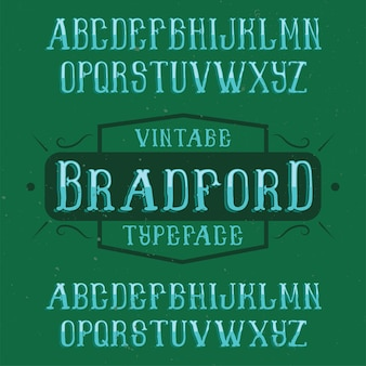 Vintage label schrift namens bradford.