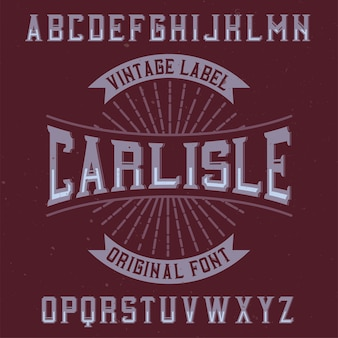 Vintage label schrift namens carlisle.