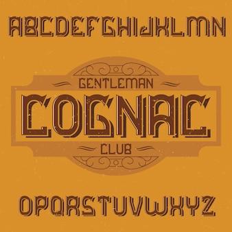 Vintage label schrift namens cognac