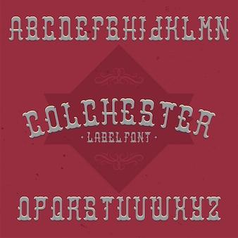 Vintage label schrift namens colchester