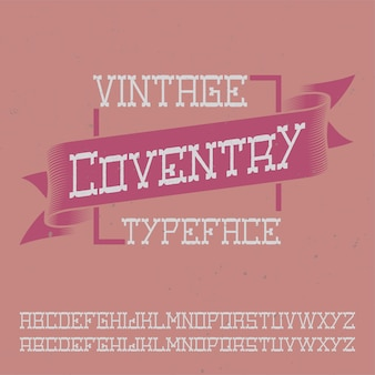 Vintage label schrift namens coventry.