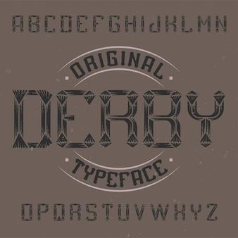 Vintage label schrift namens derby.