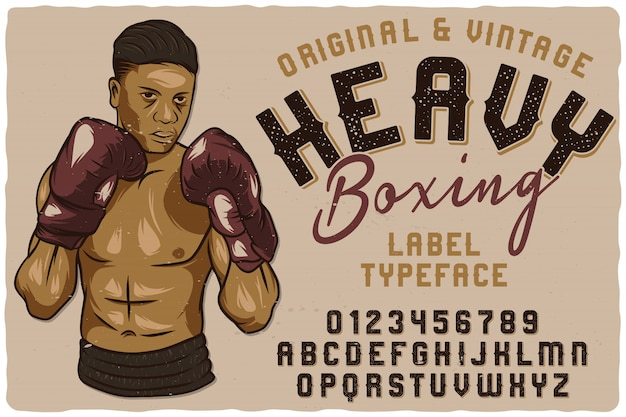 Vintage label schrift namens heavy boxing.