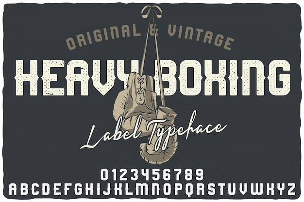 Vintage label schrift namens heavy boxing.