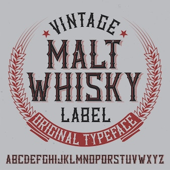 Vintage label schrift namens malt whiskyy