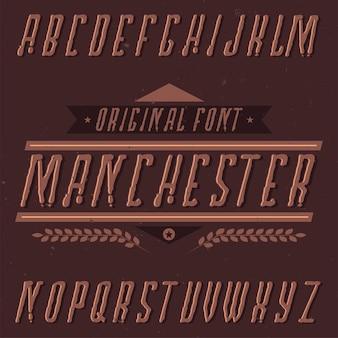 Vintage label schrift namens manchester.