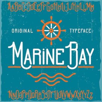 Vintage label schrift namens marine bay.