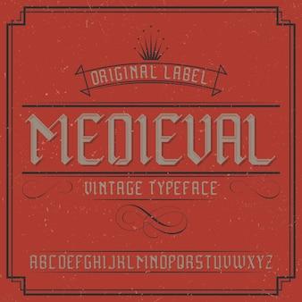 Vintage label schrift namens midieval.