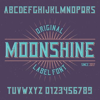 Vintage label schrift namens moonshine.