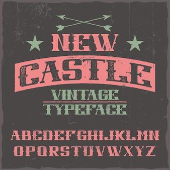 Vintage label schrift namens new castle.