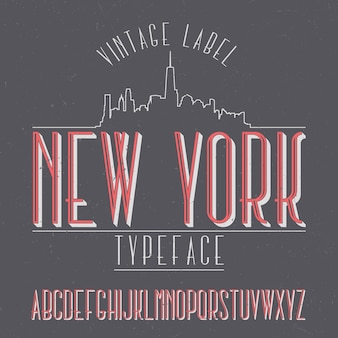 Vintage label schrift namens new york.