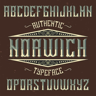 Vintage label schrift namens norwich