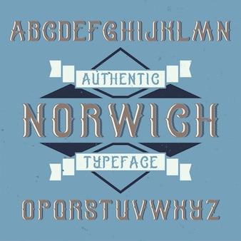 Vintage label schrift namens norwich.