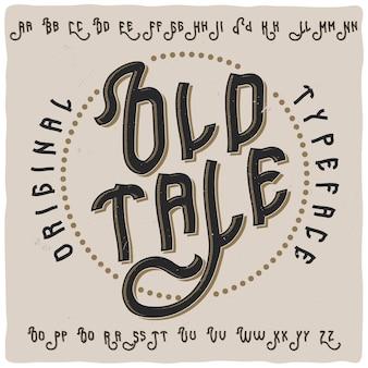 Vintage label schrift namens