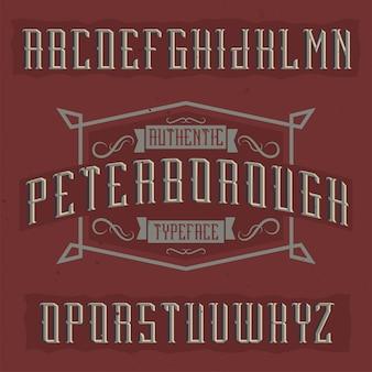 Vintage label schrift namens peterborough