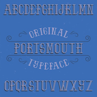Vintage label schrift namens portsmouth.