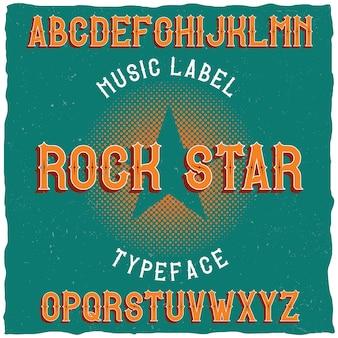 Vintage label schrift namens rock star.