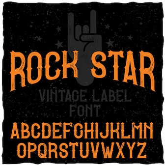 Vintage label schrift namens rock star.