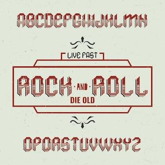 Vintage label schrift namens rockandroll