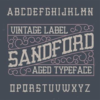 Vintage label schrift namens sandford.