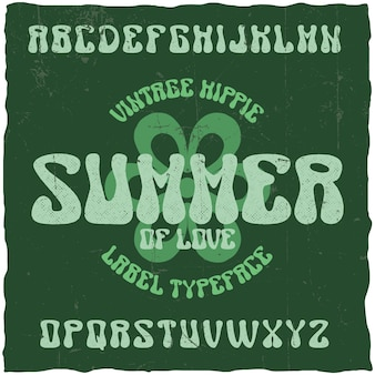 Vintage label schrift namens summer