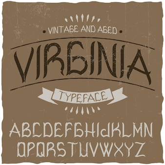Vintage label schrift namens virginia