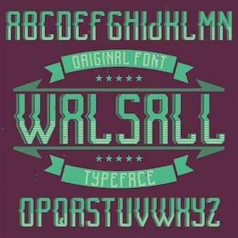 Vintage label schrift namens walsall.
