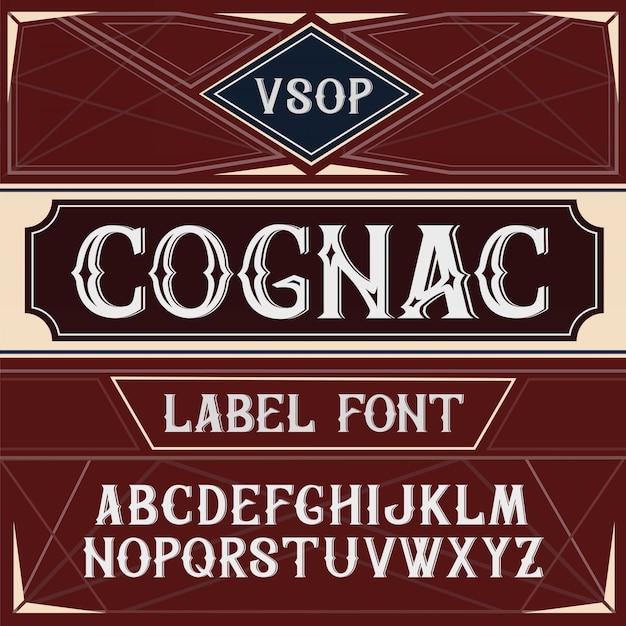 Vintage label schriftart cognac-stil