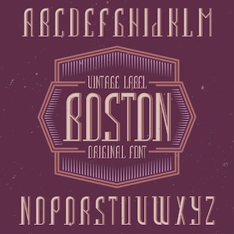 Vintage label schriftart namens boston.