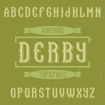 Vintage label schriftart namens derby.