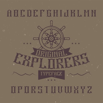 Vintage label schriftart namens explorers