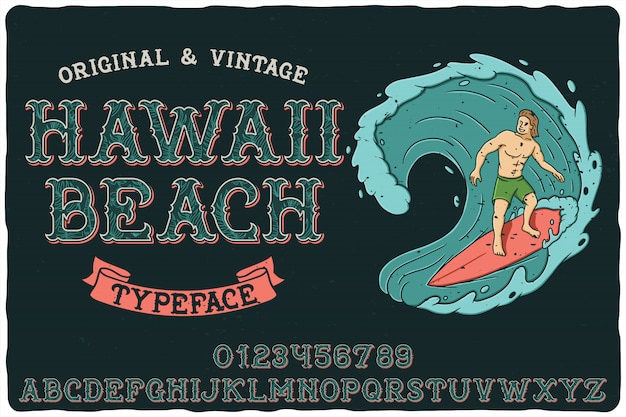 Vintage label schriftart namens hawaii beach.