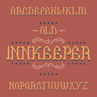 Vintage label schriftart namens innkeeper
