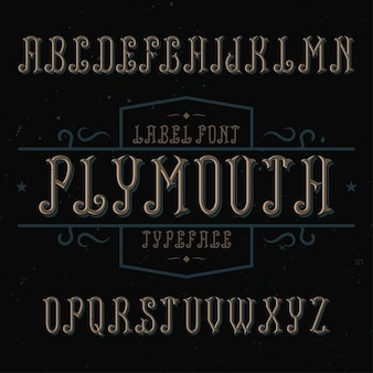 Vintage label schriftart namens plymouth.